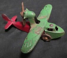Vintage Cast Iron Seagull High Wing Toy Airplane Kilgore W/Pusher Prop GRN/RED