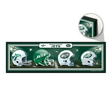 "NEW YORK JETS HELMET DESIGN THROUGHOUT THE YEARS WOOD SIGN 9""x30"" NEW WINCRAFT"