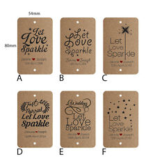 100 x Personalised Kraft Brown Wedding Favour Gift Tags Sparklers Bomboniere