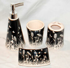 4pc Butterfly Bathroom Set Black & White Soap Dispenser & Dish Toothbrush Holder