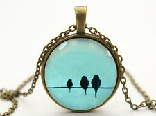 Vintage Bird Cabochon Bronze Glass Chain Pendant Necklace bt12