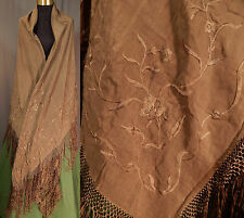 Vintage Victorian Antique Brown Silk Embroidered Floral Fringe Piano Shawl Wrap