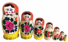 7 RUSSIAN STACKING TRADITIONAL MATRYOSHKA DOLLS/SEMENOVO/RED SHAWL/16 cm/ 6.5''