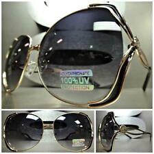 OVERSIZE LARGE VINTAGE RETRO Style SUNGLASSES BOLD FASHION Huge Gold Metal Frame
