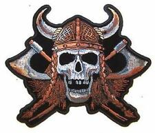 large JUMBO SKULL VIKING WITH AXES JACKET BACK PATCH JBP55 NEW warrior horns