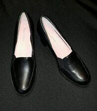 """TARYN ROSE -9 Med- Butter Soft Black All-Leather 2 1/4"""" Sturdy CLASSIC PUMPS"""
