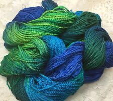 hand dyed yarn mercerised cotton worsted peacock 200 yds yarn