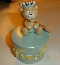 Regency Baby Days Teddy Bear Prince Blue Trinket Gift Pot 11 cm