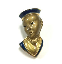 Vtg CROWN TRIFARI Figural Enamel Asian Oriental Man Face Head Brooch Pin FF11u