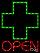 "NEW ""OPEN"" 1ST AID LOGO 26x20 SOLID/ANIMATED LED SIGN W/CUSTOM OPTIONS 21687"