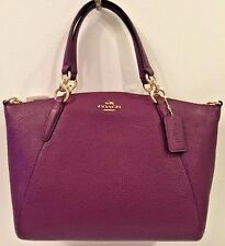 NWT Coach 36591 Pebbles Leather Kelsey Small Satchel Handbag Plum
