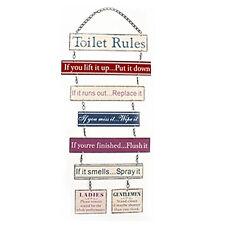 TOILET RULES HANGING PLAQUE METAL BATHROOM SIGN FUNNY MESSAGE DOOR WALL LOO NEW