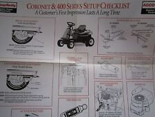 SIMPLICITY CORONET & 400 SERIES LAWN TRACTOR CHECKLIST ADJUSTMENTS 17x23 POSTER