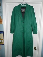 Womens Hunter Green London Fog Belted Lined Trench Size 10R