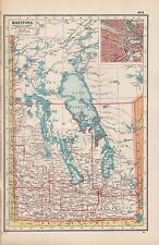 1920 MAP -POST WW1- CANADA-MANITOBA, INSET WINNIPEG