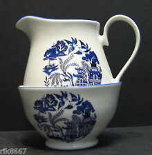 Willow Pattern English Fine Bone China Cream Jug & Sugar Bowl By Milton China