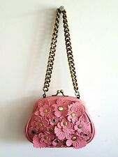Isabella Fiore Pink Leather Floral Rivet Applique Evening Bag Chunky Brass Chain