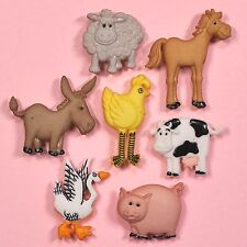 DRESS IT UP Buttons Funny Farm 4667 - Horse Pig Donkey Goose Sheep Cow Chick