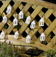 White Moroccan Lantern Solar Powered Garden LED Fairy String Lights shabby chic