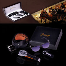4x Men's Watch & Sunglasses & Belt &Keychain Business Gift Set For Father's Day