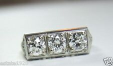 Vintage Antique Diamond Engagement 18K White Gold Ring Size 4.75 UK-J EGL USA
