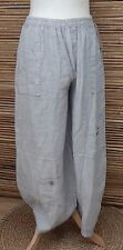 LAGENLOOK LINEN AMAZING QUIRKY HAREM OVERSIZE TROUSERS/PANTS*GREY*Size L-XL-XXL