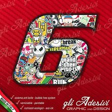 Adesivo Stickers NUMERO 6 moto auto cross gara STICKER BOMB 5 cm