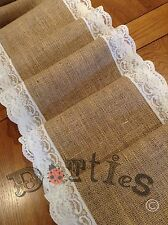 """6ft X 12"""" Wide Hessian And Lace Table Runner"""