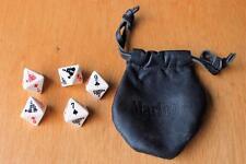 VTG set 5 octagonal poker dice bakelite or plastic black leather Marlboro pouch