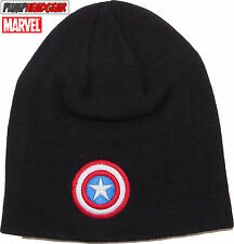 MARVEL COMICS CAPTAIN AMERICA Teschio Knit Nero Cappello Beanie
