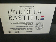 FETE DE LA BASTILLE DAY  RAFFLE TICKET JULY 12,1991- MARLBOROUGH ST. BOSTON