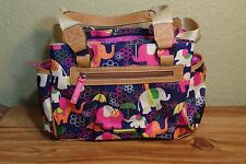 NEW LILY BLOOM Elephant Run Blue Lots of Pockets Animals Satchel Purse Bag Tote!