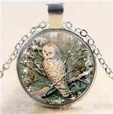 SNOWY OWL Photo Cabochon Glass Tibet Silver Chain Pendant Necklace