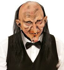 Creepy Butler or Witch Halloween Fancy Dress Latex 3/4 Face Mask With Hair