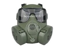 TACTICAL AIRSOFT PAINTBALL FULL FACE SKULL GAS DUAL FAN GAS MASK M50 OD