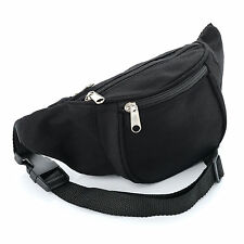Unisex Retro Bum Bag - Classic Plain Black Design - Brand New - Festival Camping