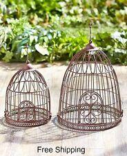 Decorative Bird Cage 2 PC Vintage Style Garden Decor Hanging Planter Patio Porch