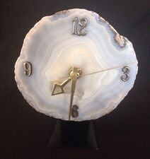 Large Natural Agate Slice Clock W/ Stand Polished Gemstone Crystal Blue/Gray