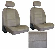 Tan Beige  Interwoven Weave Car 2 Seat Covers w/ 2 head rests sc-40-118-5