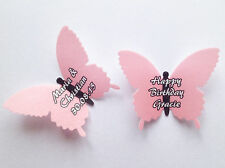15 Personalised Light Pink Edible Rice Wafer Paper Butterflies Cupcake Toppers