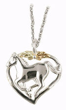 Black Hills Gold heart horse pendant womens ladies .925 sterling silver