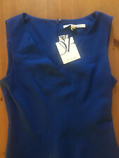 NWT Diane von Furstenberg Carla Sleeveless Flared-Hem Dress Blue Size 10