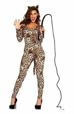Ladies Sexy Leopard Print Cougar Animal Jumpsuit Fancy Dress Costume Outfit