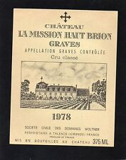 GRAVES 1ER GCC VIEILLE ETIQUETTE CHATEAU LA MISSION HAUT BRION 1978 RARE §01/02§