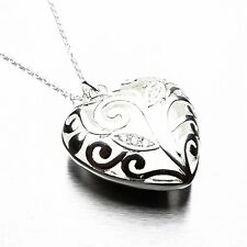 """ SILVER HEART ""  Heart Pendant Filigree Necklace Silver Floral  925"