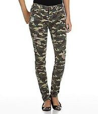 Juniors Brown/Olive Camouflage Skinny Pants FREESTYLE Stretch Size XL