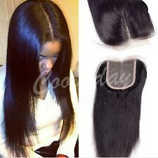 "10"" Lace Closure Straight Middle Part  Brazilian Virgin Human Hair Extensions"