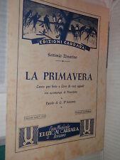 LA PRIMAVERA Settimo Zimarino Carrara 1945 G D Antonio musica saggistica libro