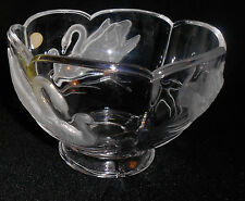 """French 24% Genuine Lead Crystal Embossed Frosted Swan Glass 6"""" Bowl-Teleflora"""