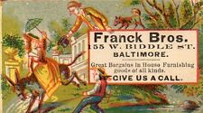 Franck Bros. Great Bargains in Home Furnishings Victorian Trade Card 1882